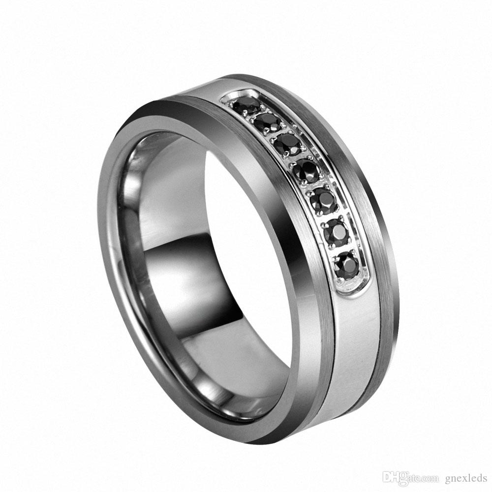 Queenwish Luxury Style Mens Tungsten Ring Channel Set Black Cz Inlay 8mm Cubic  Zirconia Rings Wedding