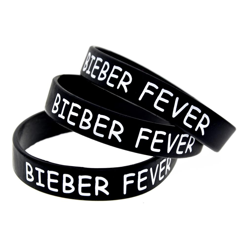 1PC Printed Logo Justin Bieber Fever Silicone Rubber Bracelet A Great Way To Show Your Support