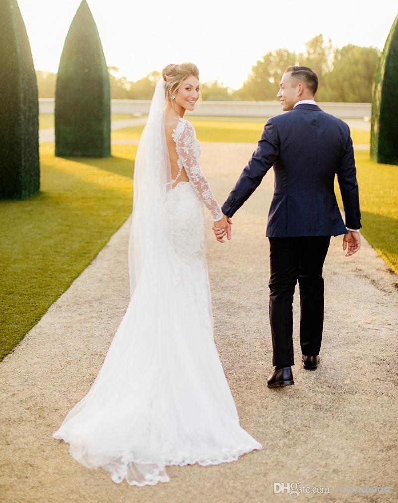 Großhandel 2017 romantische Friesen Spitze Brautkleider Backless ...