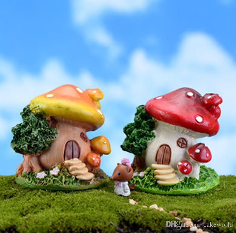 2 pz cartoon fungo casa muschio Micro Paesaggio Terrario Jardin Decorazione fata giardino miniature gnome bonsai casa ornamenti