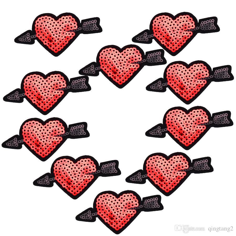 10PCS Pailletten Pfeil der Liebe Patch für Kleidung Taschen Eisen auf Stickerei Patches für Kleid Jeans DIY Nähen auf Stickerei Abzeichen Pailletten