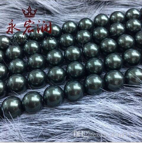 Perle di conchiglia pieno foro due fori imitazione perle Nanyang perlina verde semilavorati collana fai da te