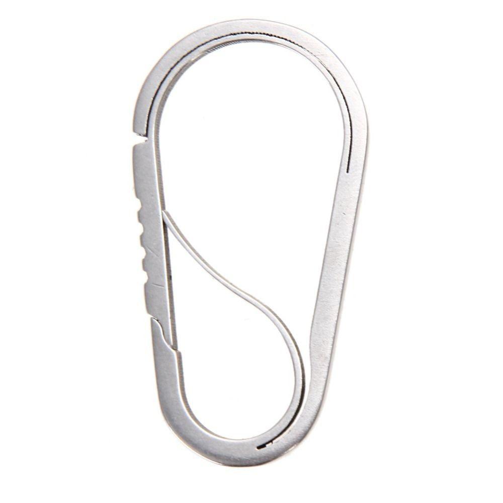 All'ingrosso-Lucido Gancio in acciaio inox portachiavi moschettone fibbia antifurto cintura esterna portachiavi clip apribottiglie equipaggiamento da campo