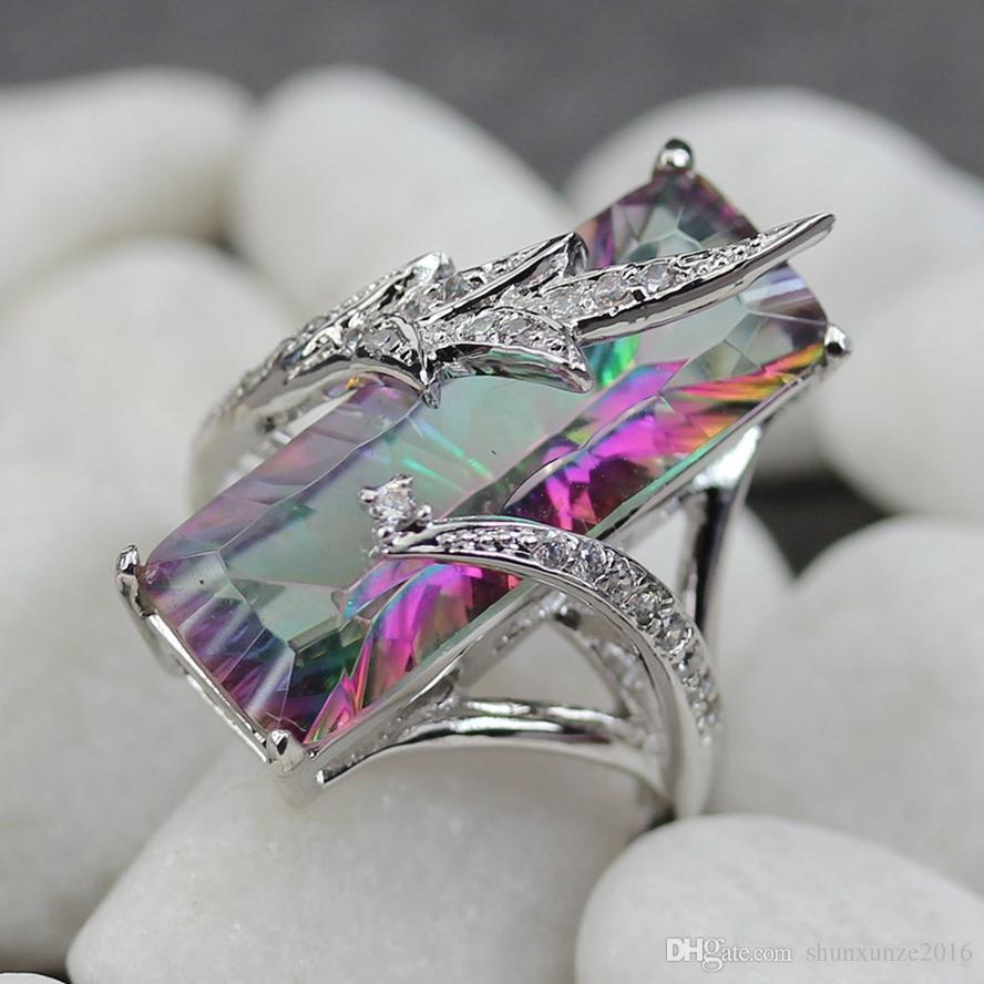 Lünette Einstellung Rhodium überzogene Ring Weiß und Regenbogen Zirkonia R772 Größe # 6 7 8 9 Romantische Stil Frauen Schmuck Geschenk Rave Bewertungen