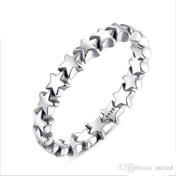 BAMOER Star Trail Impilabile anello per le dita per le donne da sposa Collezione di gioielli in argento sterling 925% PA7151