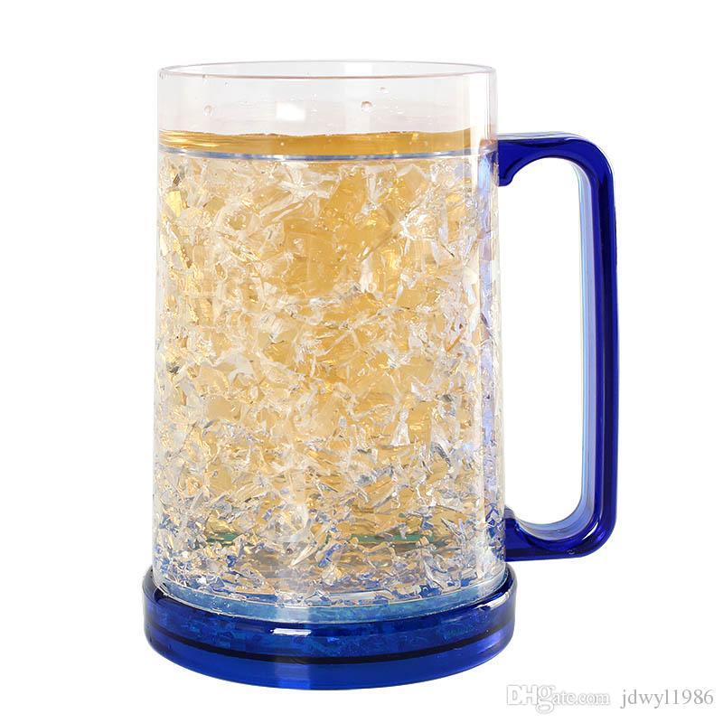 Fresco verano colorido Ice Crack Straws Smoothie Maker Copa 450ML Frozen plástico Batido batido tazas helado taza de bebidas