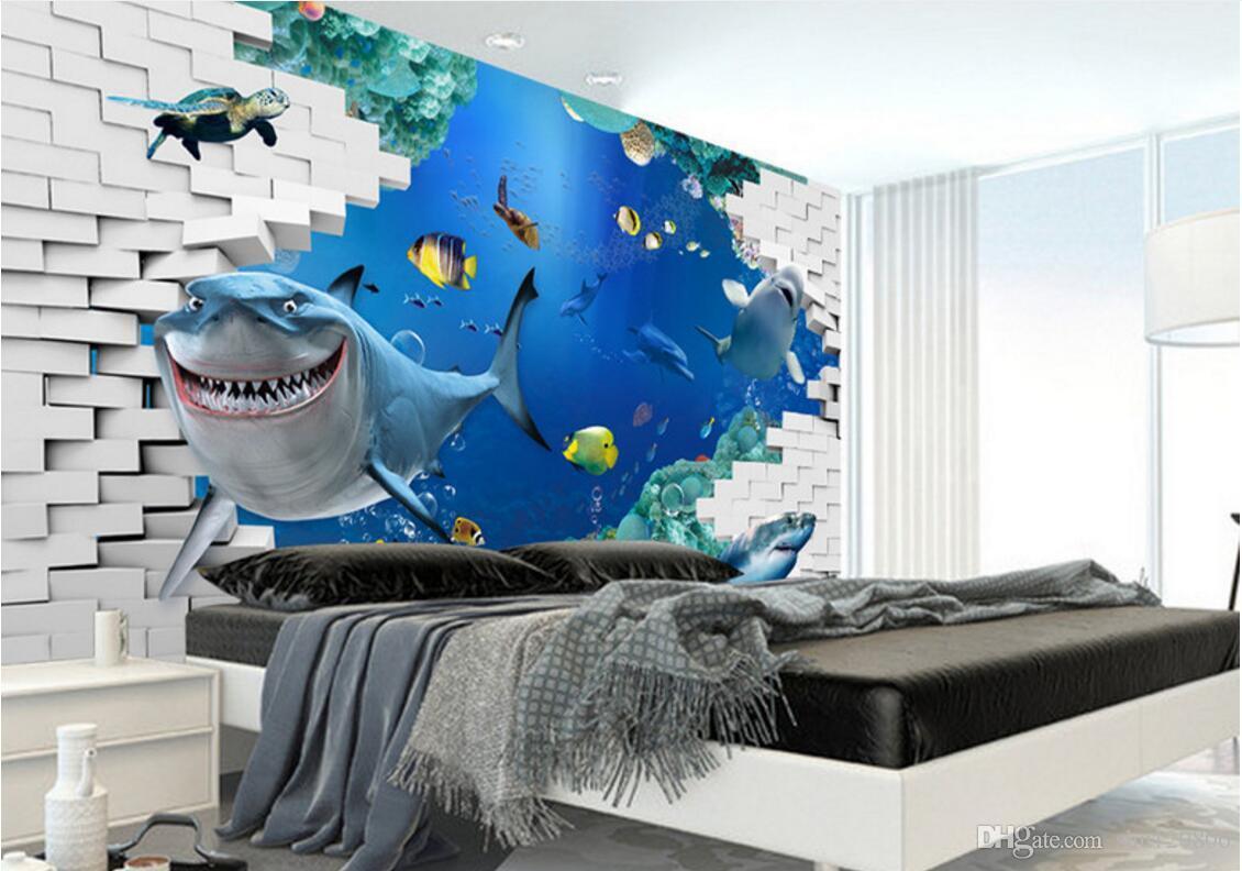 Papier Peint Deco Marine acheter 3d chambre papier peint personnalisé photo non tissé mural marine  vie tv réglage décoration peinture image 3d peintures murales papier peint