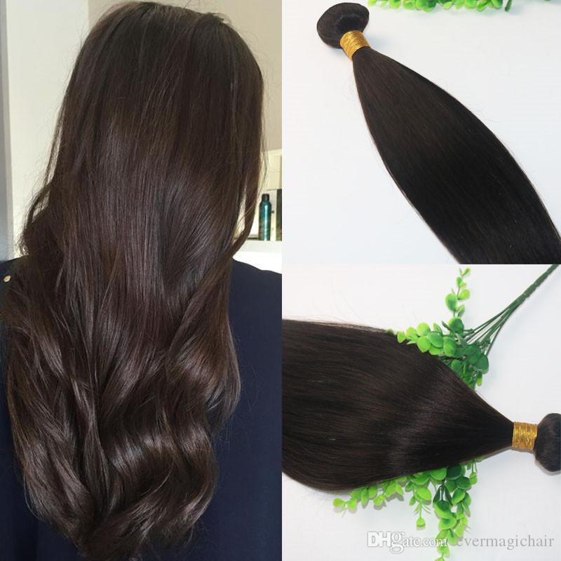 8A Darkest Brown 2 # Bundles de cheveux brésiliens 10-30 Extensions de cheveux humains Double Drown cheveux raides Weaves Livraison rapide gratuite