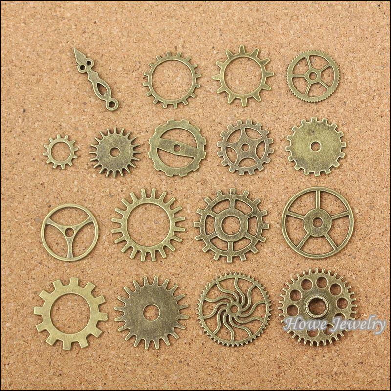 Toptan 34 adet Vintage Charms Karışık dişli Kolye Antik bronz Fit Bilezikler Kolye DIY Metal Takı Yapımı 10030