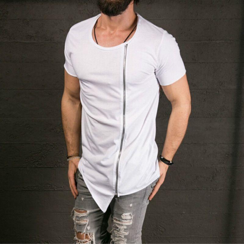 New Men's Fashion Show Stylish Long T shirt Asymmetrical Side Zipper Big Neck Short Sleeve T-shirt Male Hip Hop Tee