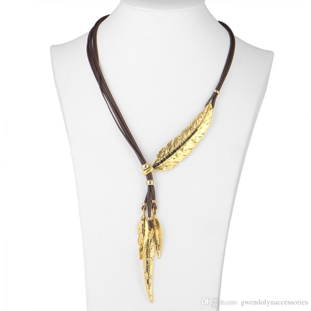 Мода Богемный Стиль Черный Веревка Цепи Перо Шаблон Ожерелье Для Женщин Изысканные Ювелирные Изделия Ожерелье Заявление Ожерелье