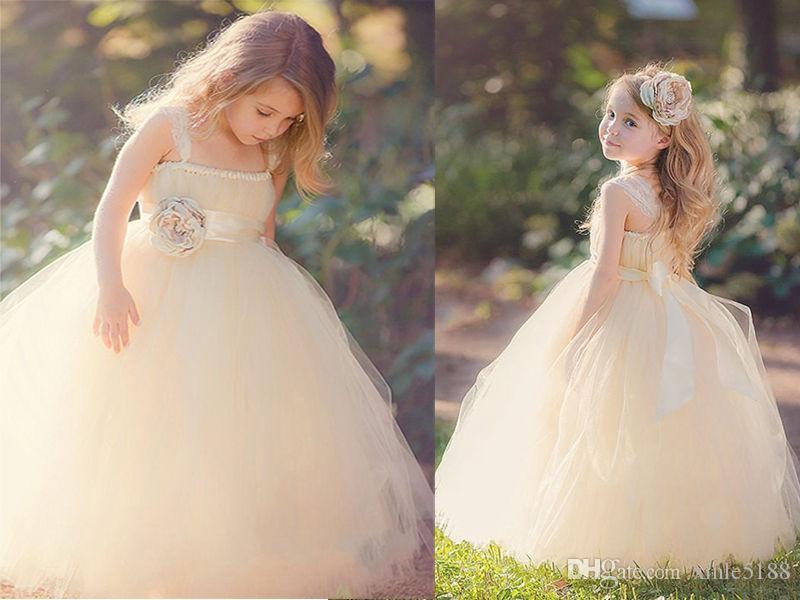 Blumen-Mädchen-Prinzessin Pageant Hochzeit Brautjungfer Partei Kommunion Tüll-Kleid