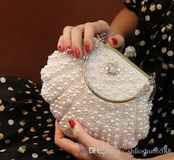 Heißer verkaufen Neue Stil Braut Handtaschen Handgemachte Diamant Perle Clutch Tasche Make-up Tasche Hochzeit Abend Party Bag Shuoshuo6588