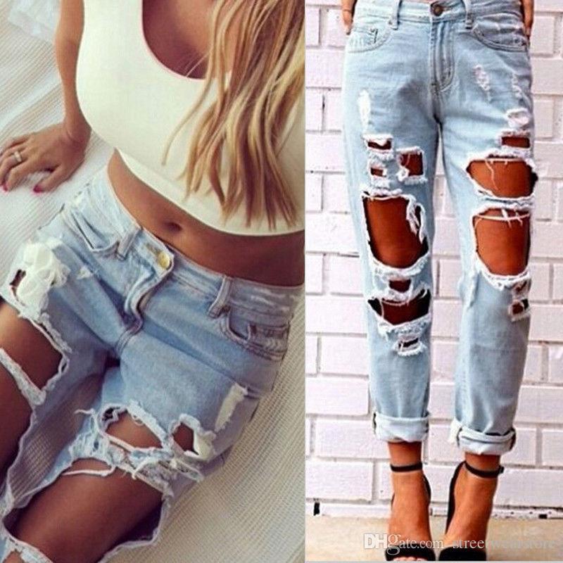 Mulheres Sexy Destruído Rasgado Afligido Magro Denim Calças Boyfriend Jeans Calças
