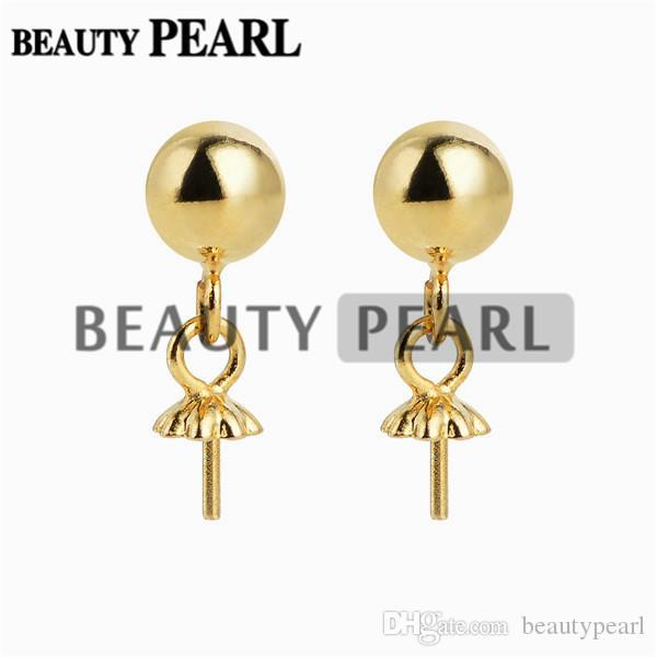 5 paia commercio all'ingrosso 5mm Palla d'oro Vermeil 925 Orecchini in argento sterling con anelli aperti e orecchie Nuts