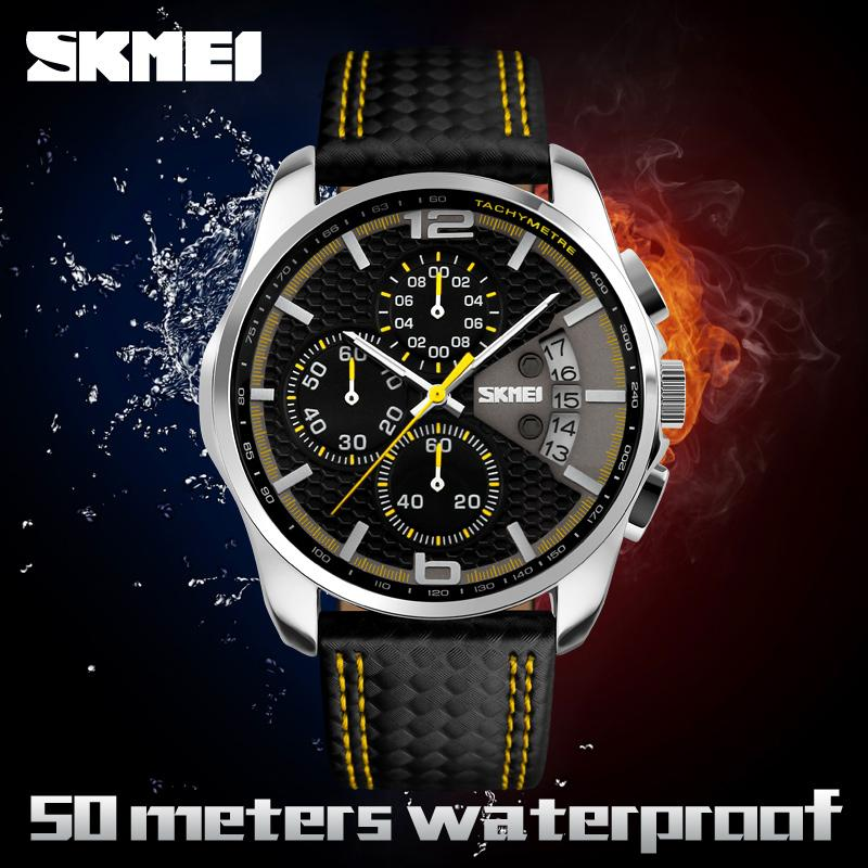 SKMEI Men's Date Watch Chronograph Watch Leather Quartz-Watch Men Masculino Relogio Clock Waterproof Sport Wristwatch 9106 Mhvqn