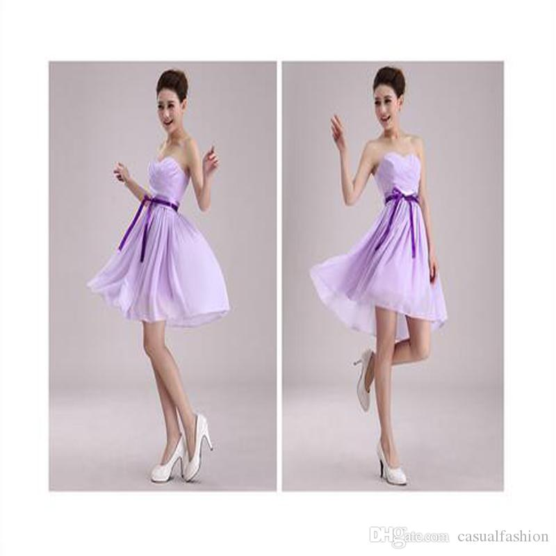 New Style Strip Chiffon A Line Sweetheart Pleated Bridesmaid Dress Cheap Prom Evening Party Dress Wedding Party Guests Wear