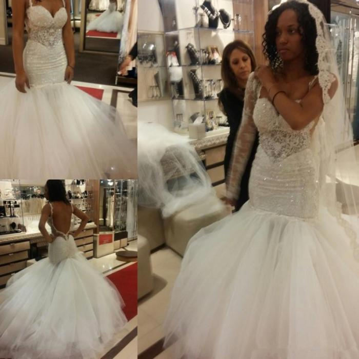South African Sequins Mermaid Wedding Dresses Sexy Modern Open Back Spaghetti Straps Lace Tulle Wedding Gowns Trumpet Dress Bride