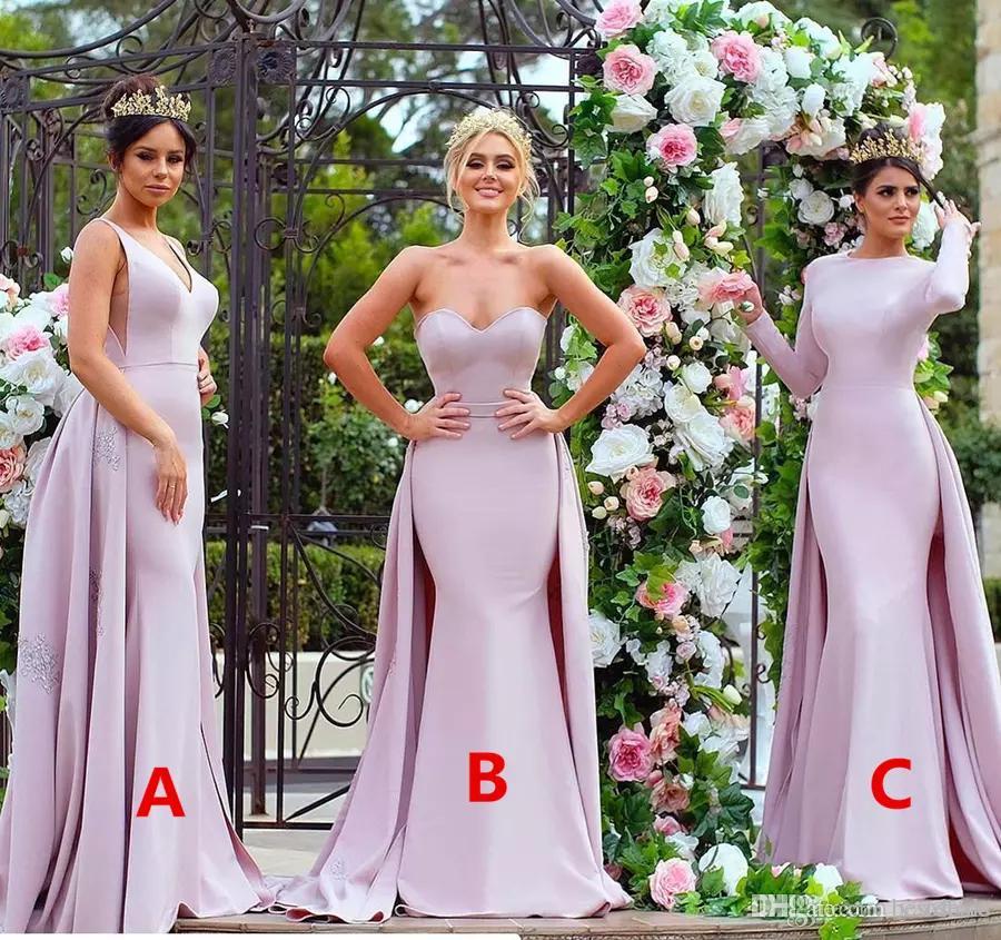 Stilvolle applizierte rosa lange Brautjungfer Kleider 2017 trägerlosen weiche satinische langarm-Hochzeits-Gastkleid-Mädchen von den Ehrenkleider