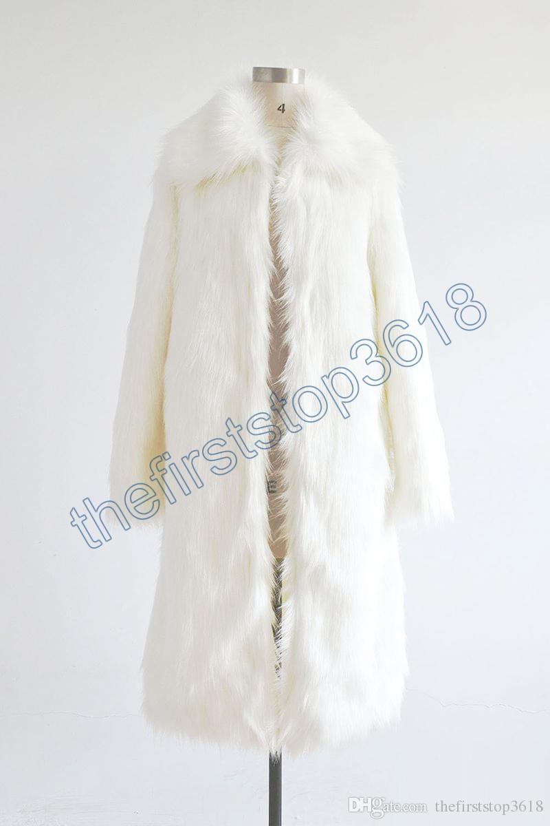 2017 American Style Mens Faux Fur Coat Overcoat Long Sleeve Lapel ...