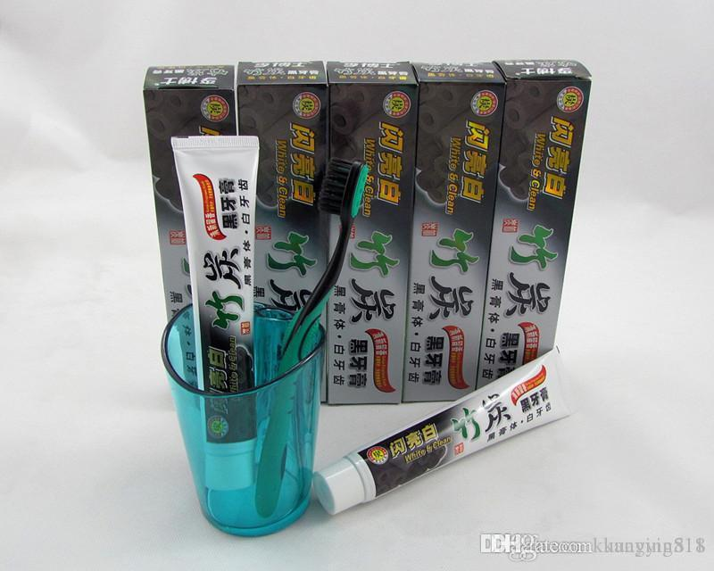 2017 neue holzkohle zahnpasta weiß und sauber whitening schwarz zahnpasta bambus mundhygiene zahnpasta hohe qualität DHL versand