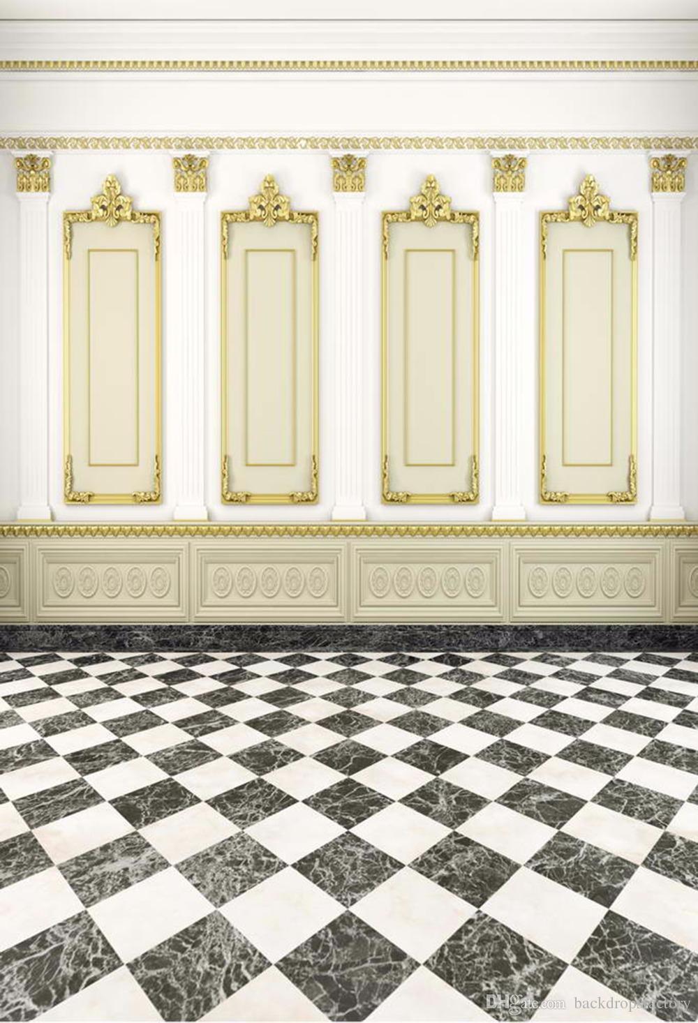 الفاخرة داخلي الخلفيات التصوير الرقمي المطبوعة الذهب إطارات الصور جدار أبيض الزفاف الخلفيات الخلفيات أبيض وأسود الكلمة