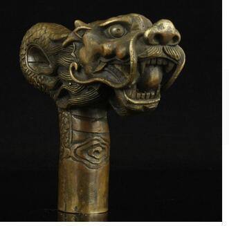 100% bronze cuivre pur laiton grand-père bon chanceux Chine vieux travail manuel sculpture bronze dragon statue de canne canne bâton de marche