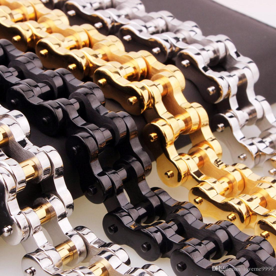 Высокое качество титана стали 18 мм широкий 23 см длина тяжелый байкер велосипед цепи браслеты браслеты высокой полированной скобка кружева мужчины Мото ювелирные изделия