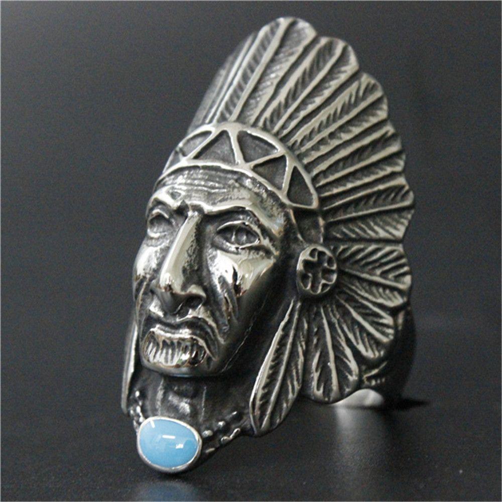Anillo de piedra azul del estilo del motorista 3pcs / lot refrescan el nuevo diseño de la India Amerian de la joyería anillo de acero inoxidable 316L moda Fiesta Banda