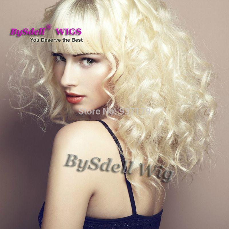 Parrucca di fabbrica promozionale ondulata Luce di platino Bionda / Colore pastello mette in evidenza parrucca di capelli morbidi sintetici KANEKALON parrucche ricci corti completi per le donne