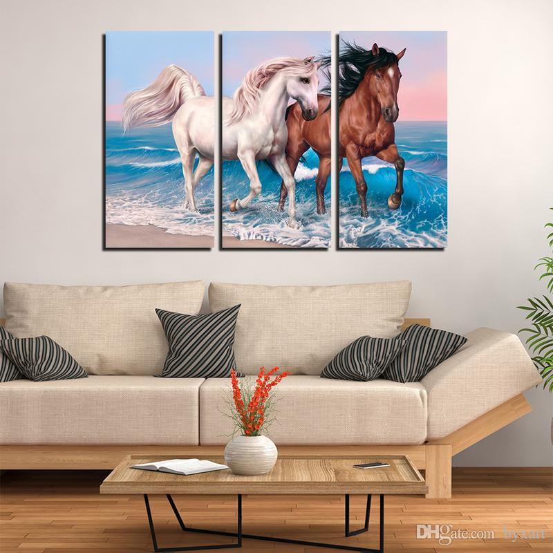 Beste Wohnzimmer Wandkunst Dekoration | Grosshandel Pferd Leinwand Wandkunst Gross Tier Wand Kunst Malerei