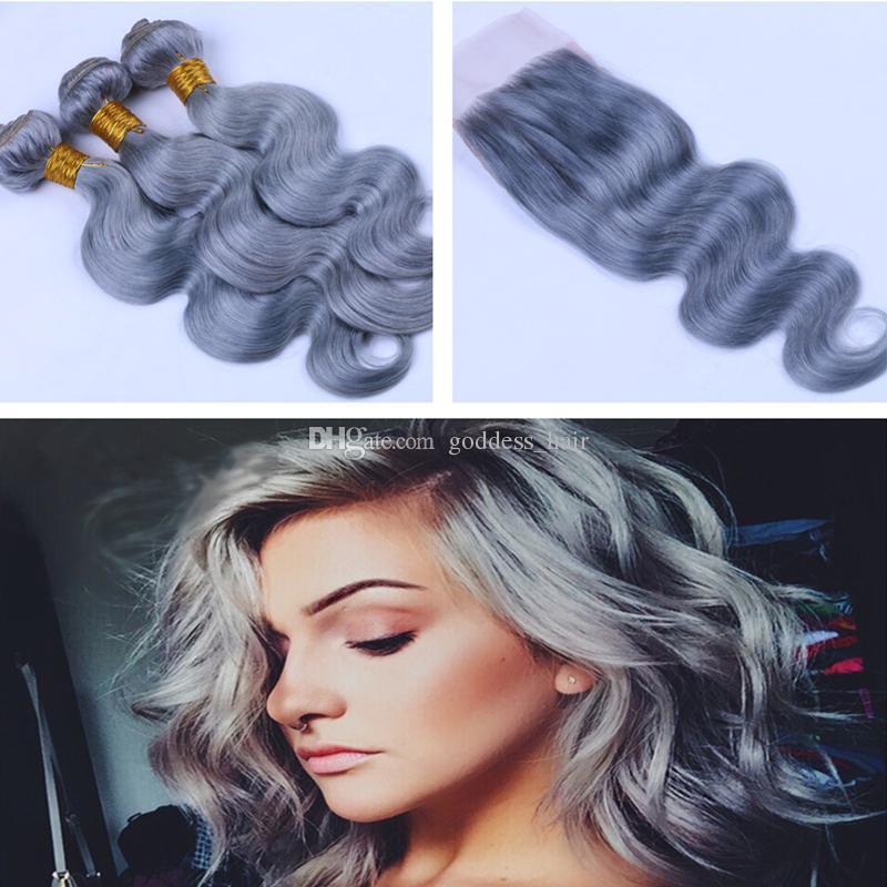 Brasileño # Gris Color Cuerpo Onda del pelo de la onda con el cierre del cordón 9A Virgin Top del cordón del pelo humano Cierre 4x4 con la extensión del pelo 4Pcs / Lot