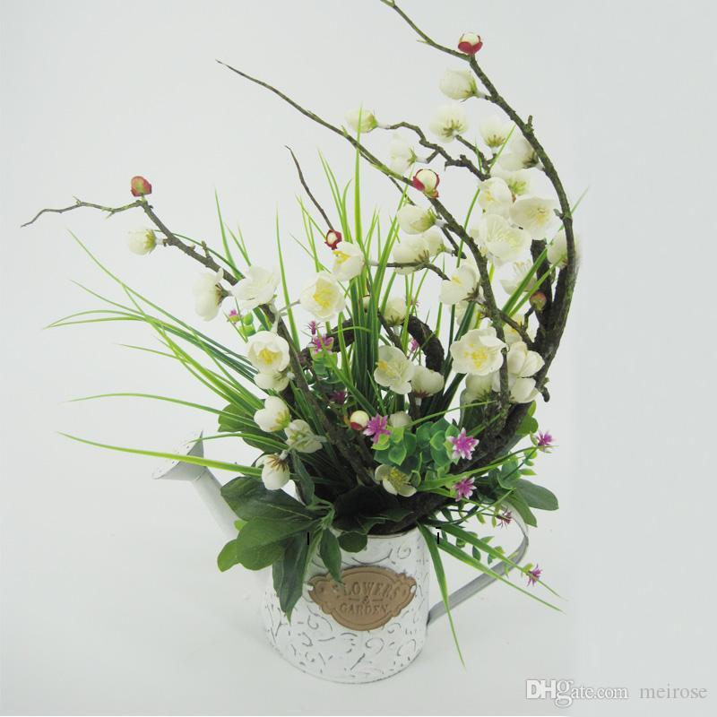 Piante artificiali con piatti in lamiera zincata Bonsai bianchi Pianta in vaso lavata bianca per feste nuziali Special giorni Home Decor 125 -1005