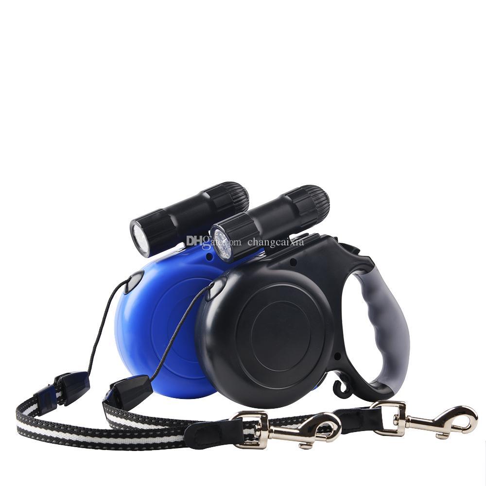 (20 قطعة / الكثير) العلامة التجارية الجديدة وصول 5M ABS المواد التلقائي قابل للسحب الكلب المقاود الرصاص مع مصباح يدوي بقيادة الولايات المتحدة
