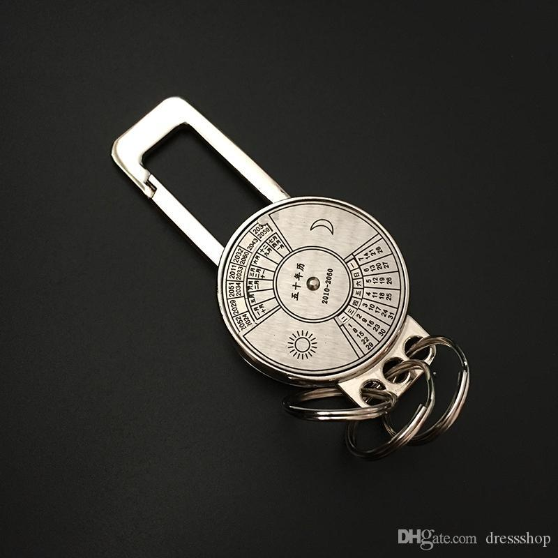 Multifunctional Calendar practical men waist hanging keychain car safety buckle insert the key fob