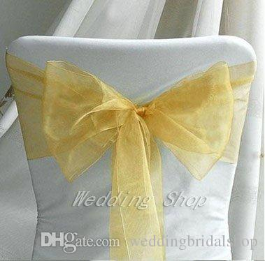 25pcs Gold color 20cm x 275cm Wedding Favor Sheer Organza Chair Covers Sashes Ribbons Bow Party Banquet Event--Tracking Number