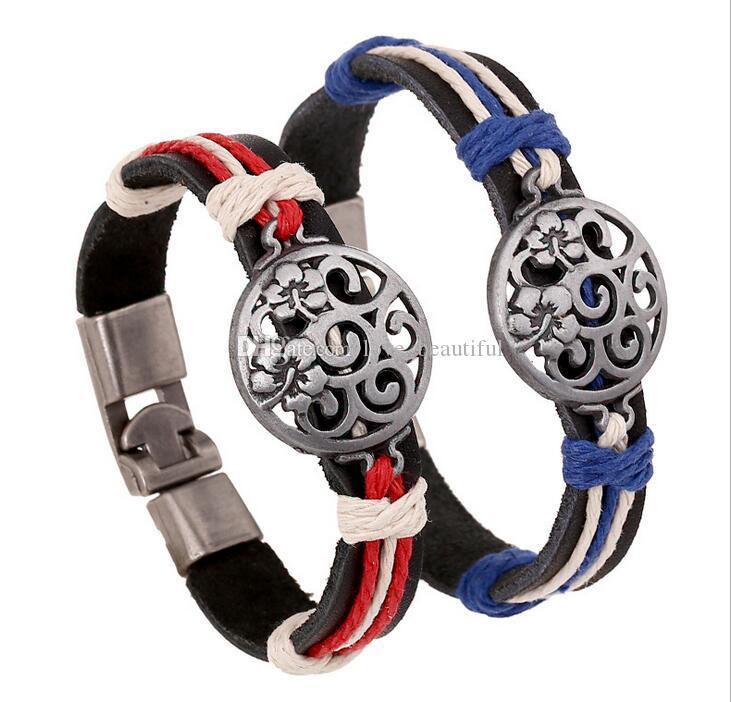 2017 new fashion Man woman Cowhide bracelet Toggle clasps 100% cowhide bracelet Hollow flower leather Couple Bracelet Punk jewelry 12pcs/lot