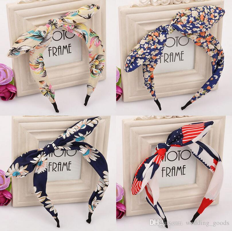 High quality Floral bow knot hairband fashion wave point rabbit ears hair card TG003 mix order 30 pieces a lot