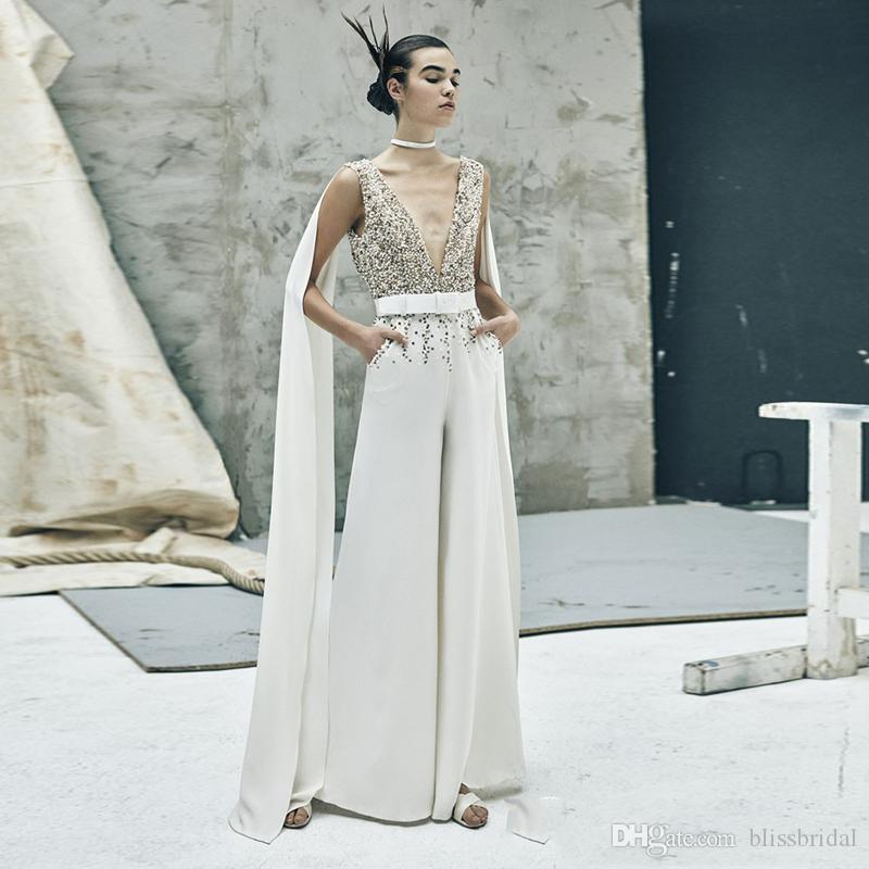 Special Design White Jumpsuit Formal Evening Gown Sheer Sequins Beaded V-Neck Prom Dress with Wrap Saudi Style Reception Dress