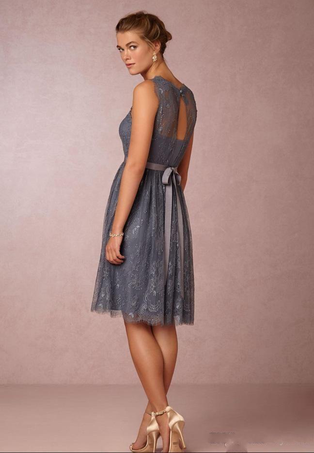 69001595c ... 2017 New Lace Knee Length Junior Bridesmaid Dresses A-line Sash Grey  Bridesmaid Gowns Vintage ...