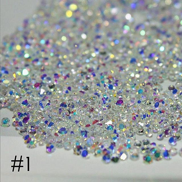 3D أحجار الراين مسمار الفن زينة 300PCS 1.4mm الملونة الماس الصمغ مايكرو زجاج DIY الحرفية مسمار الفن زينة