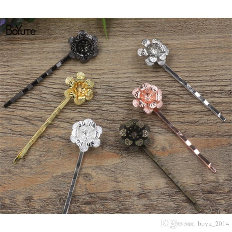 BoYuTe 20Pcs 18*5MM HOT Sale Filigree Flower Hair clip 6 Colors Plated Fashion Women Hair Accessories