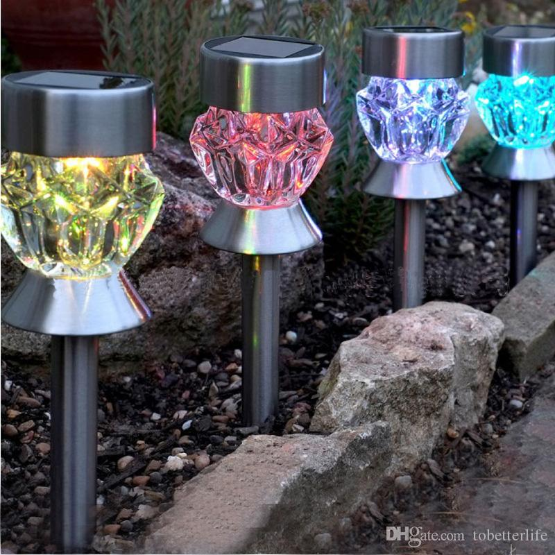 Color changing led SOLAR lawn lamp DIAMOND Pumpkin shaped ip65 LED landscape lamp Solar garden Ground Light Holiday decor Light stainless