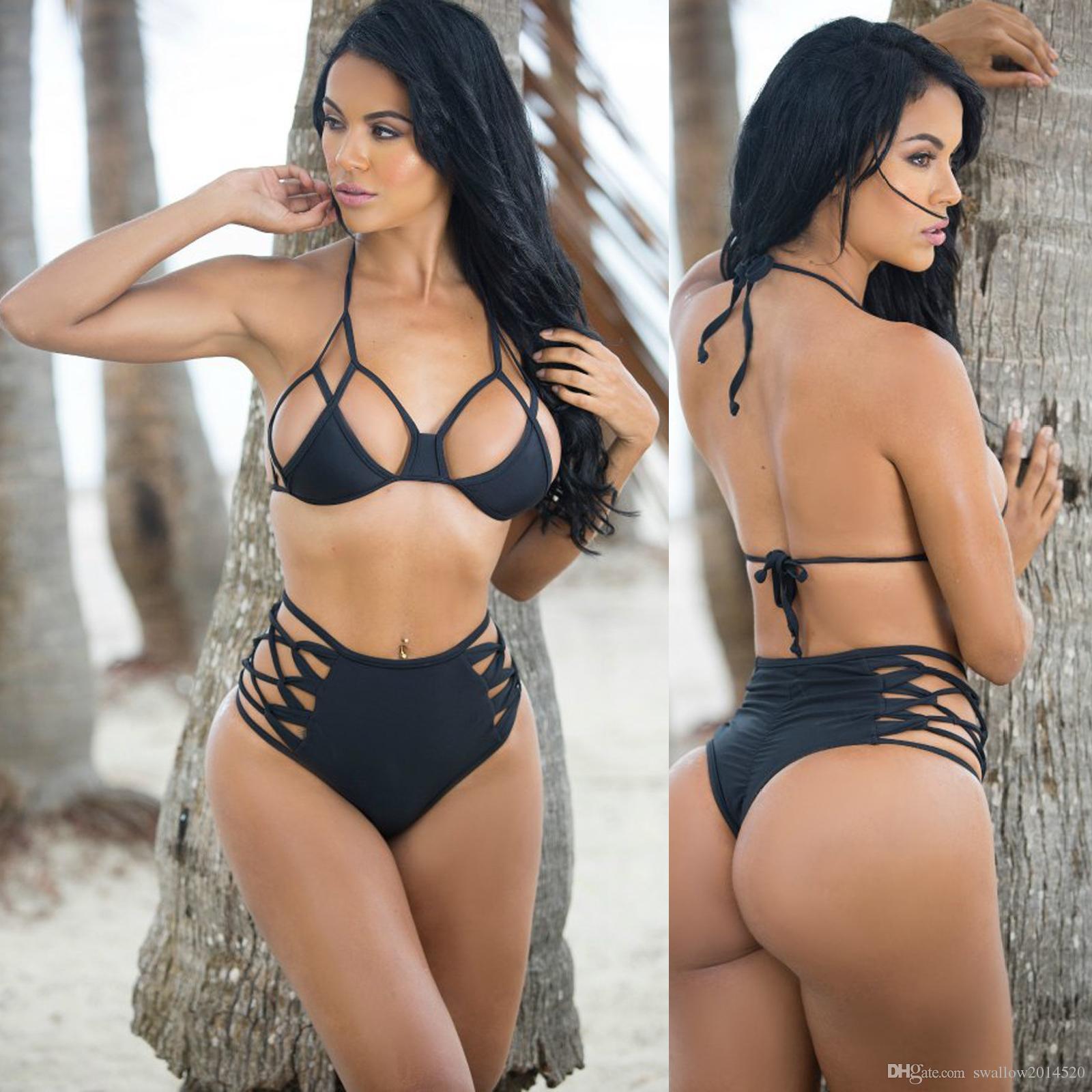 0fc7c64e8d72b5 2017 hot sale sexy women bikini swimwear bandage push up padded swimsuit  high waist bathing suit size S-3XL