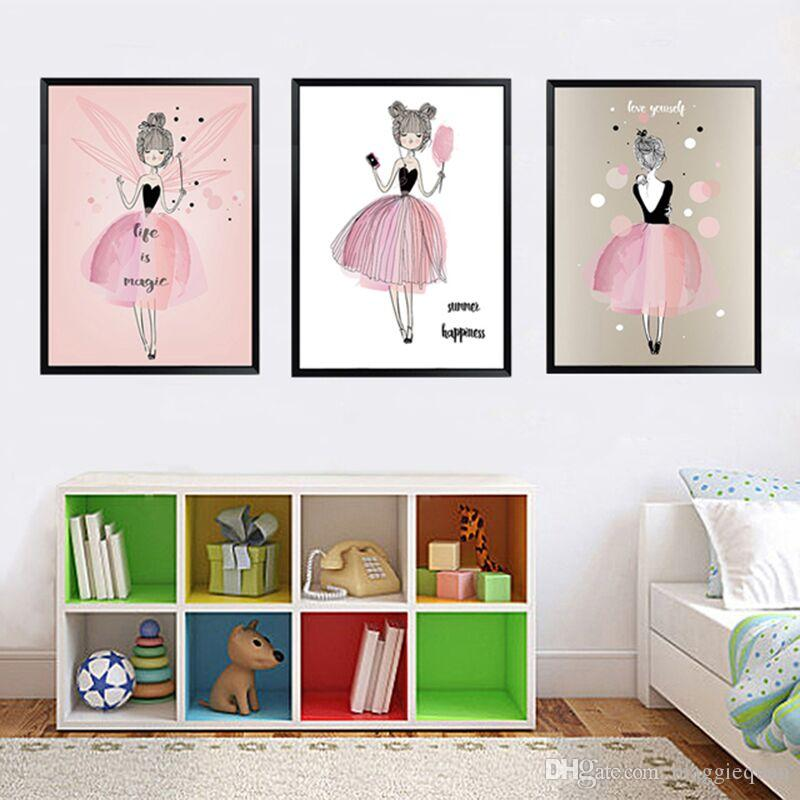 Kawaii Wall Poster for Girls Room Watercolor Portrait Painting Canvas Children Art Prints Illustrations Nordic Wall Pictures Decor Unframed