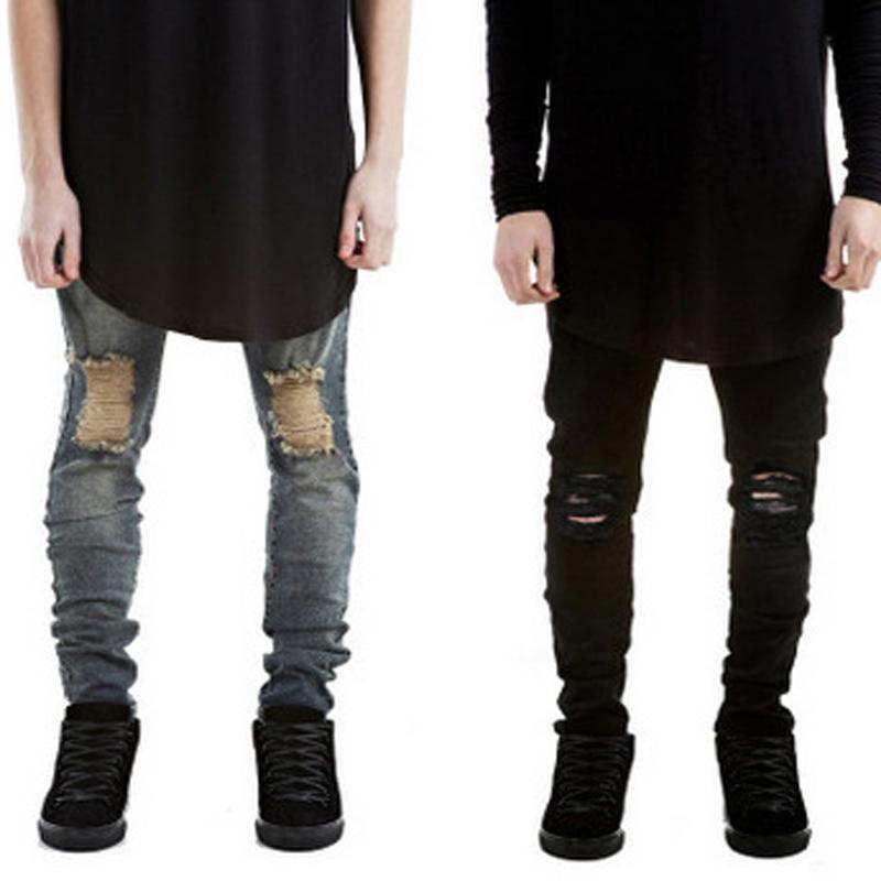 Venta al por mayor-más reciente Moda Ripped Jeans Hombres Marca Runway Destroyed Denim Skinny Biker Jeans Hip Hop lavado negro Jeans