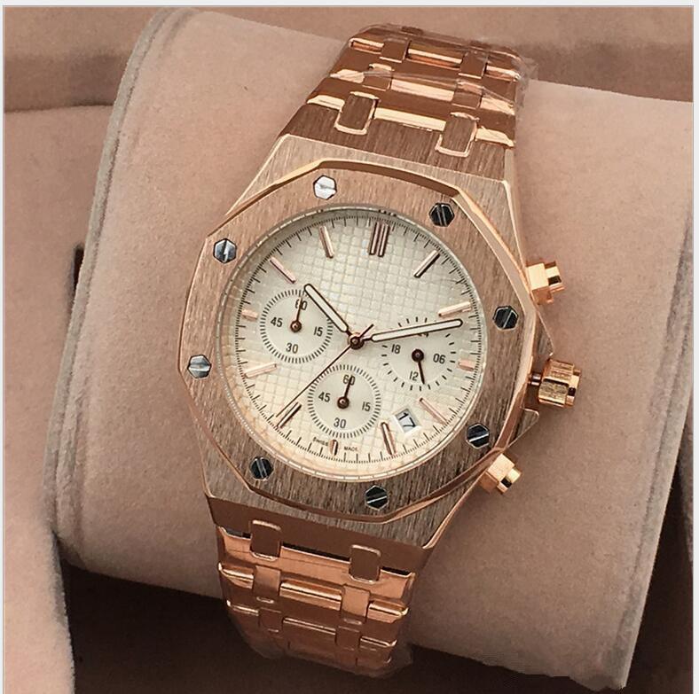 Tutti i quadranti funzionano orologi da uomo AAA in acciaio inossidabile orologi da polso al quarzo cronometro orologio di lusso relogies per gli uomini relojes Best Gift1