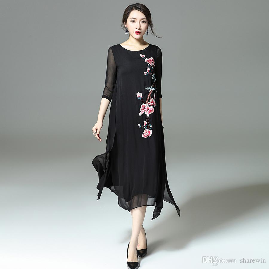 Chinese Style Embroider Flower Real Silk Long Dresses Women Fashion ...