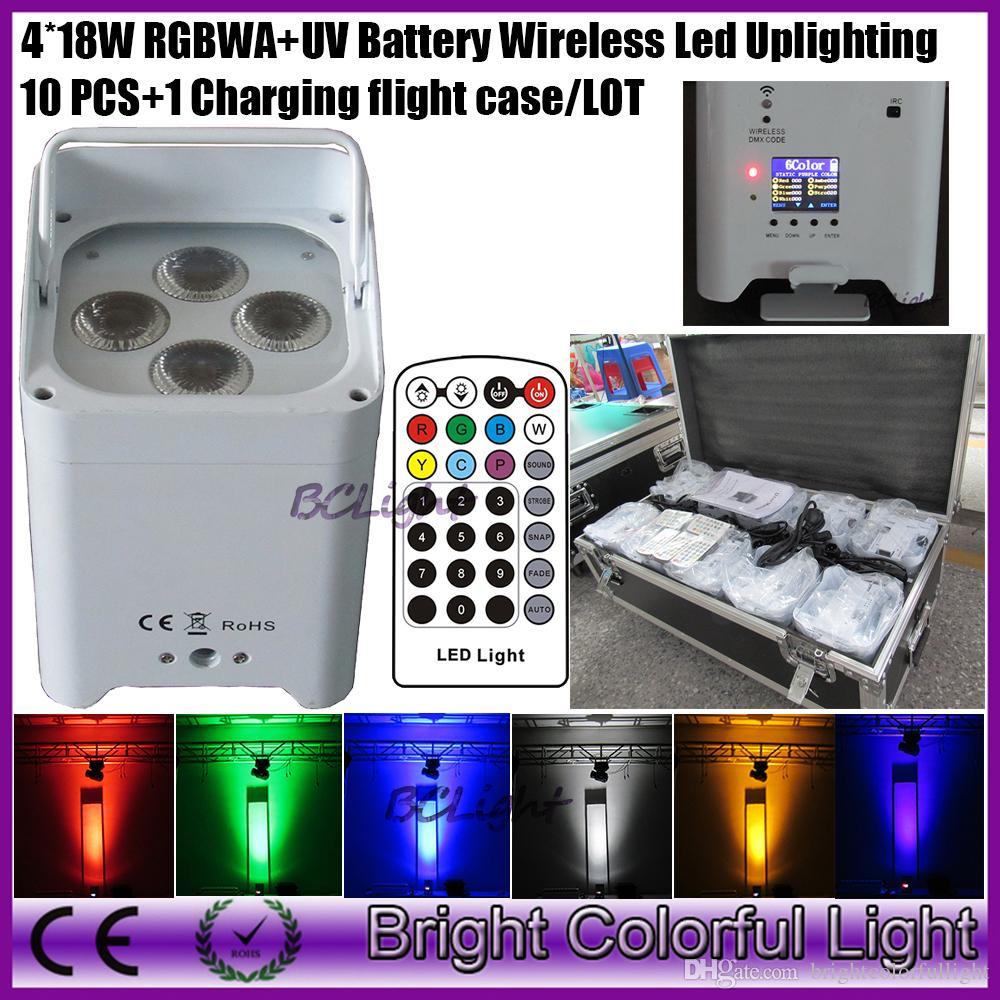 10pcs+1 fly case/lot 4*18w RGBWAP 6 IN 1 remote control battery power wireless dmx led mini par light led wedding decor uplight