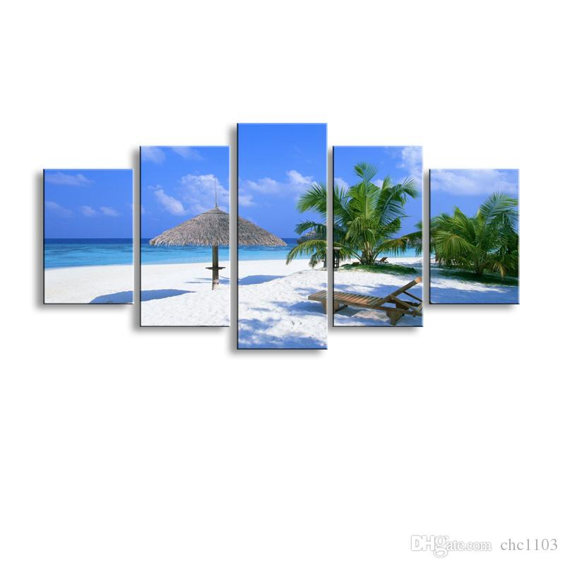 5 pieces high-definition print beach canvas oil painting poster and wall art living room picture PL5-178